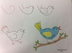 Child-friendly drawings with numbers and simple figures - we all know how to make rabbits from A Drawing Lessons For Kids, Art Drawings For Kids, Bird Drawings, Animal Drawings, Easy Drawings, Art For Kids, Drawing Ideas, Drawing Animals, Number Drawing