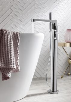 Buy the Crosswater Celeste Thermostatic Floor Standing Bath Shower Mixer with Shower Kit from Tap Warehouse and add a touch of luxury to your bathroom. Benefit from a 15 year guarantee from Crosswater and free UK mainland delivery when you spend over Bathroom Niche, Wooden Bathroom, Bathroom Interior, Small Bathroom, Blush Bathroom, Bathroom Ideas, Bathrooms, Bath Shower Mixer, Shower Kits