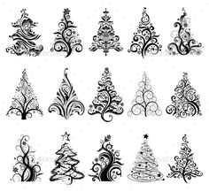 Buy Set of Luxury Christmas Trees. 15 designs in one file. To create holiday cards, backgrounds, ornaments, decoration. Tangle Doodle, Tangle Art, Doodles Zentangles, Zen Doodle, Doodle Art, Luxury Christmas Tree, Noel Christmas, Christmas Tattoo, Doodle Patterns