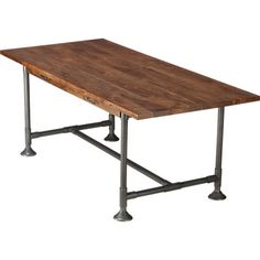 Love this as a kitchen/dining table that doubles as an office hearty table in novogratz Eclectic Dining Tables, Cb2 Dining Table, Modern Dining Table, Console Table, A Table, Pipe Table, Dining Rooms, Pipe Furniture, Dining Furniture