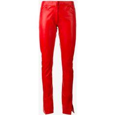 Loewe straight leather pants (7.645 BRL) ❤ liked on Polyvore featuring pants, leather, loewe, leather trousers, red trousers, red leather pants and genuine leather pants