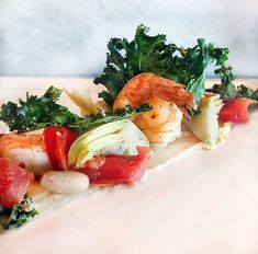 Canyon Ranch Healthy Shrimp Salad Recipe l www.panningtheglobe.com Arugula Recipes, Shrimp Salad Recipes, Chard Recipes, Healthy Salad Recipes, Seafood Recipes, Healthy Food, Seafood Dishes, Healthy Dinners, Weeknight Meals