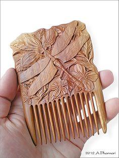 """Купить Гребень для волос деревянный """"Odonata"""" - стрекоза, природа, гребень, коричневый, авторская работа"""