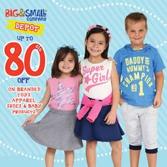 Check out Big&Small Co. Depot SALE!  Enjoy HUGE DISCOUNTS up to 80% OFF on great selection of kids' and teens' apparels, shoes, toys, baby products and more!  Promo available until December 31, 2016 at Big&Small Co. located at Glorietta 5.  For more promo deals, VISIT http://mypromo.com.ph/! SUBSCRIPTION IS FREE! Please SHARE MyPromo Online Page to your friends to enjoy promo deals!