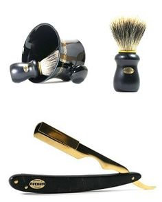 Products for your shaving. Belong to the brand Antiga Barbearia de Bairro. Made in Portugal. This set contains a razor, razor and mug