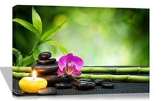 Purple Verbena Art 12x16 Inch One Panel Purple Phalaenopsis Flower with Black Spa Stone Bamboo Pictures Prints on Canvas Walls Painting, Modern Giclee Zen Artwork for Wall Decor , Stretched and Framed