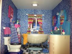 Spa Bathroom is a must! Wallpapered in tiled scrapbook paper found at JoAnn's, floor is glass tile from Home Depot, curtains are handmade by mom, window scene printed from Internet placed in window. American Girl Doll Room, American Girl House, American Girls, Ag Dolls, Girl Dolls, Our Generation Dolls, Daughter Birthday, Barbie World, Doll Furniture