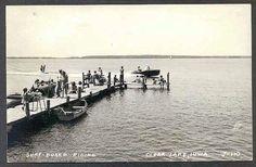 clear lake surf board  L.L. Cook postcard
