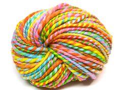 50 yards super bulky rainbow yarn in hand painted by TheGingkoLeaf, $15.00