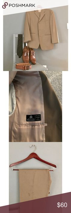 Mens Calvin Klein Woolmark Suit 38 S Khaki Mens Calvin Klein Woolmark Suit 38 S Khaki . Jacket:  in excellent condition. Notched lapels; external chest pocket at left; front pockets; 3-button closure; 4-button cuffs; side vents; fully lined.  3 internal pockets. Pants: 34in waist 40 in leg length. Inseam 12.5 in . has some grease stains (worked as manager in a restaurant) and has one small tear in the inner thigh area. Has flat front; zip fly with button and hook closure; front slant…