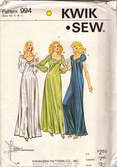 a92309df43 Kwik Sew 994 1970s Misses Evening Length Nightgown Pattern Raglan Sleeve Womens  Sewing Pattern Size xs s m l Bust 31 - 41 UNCUT