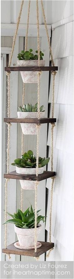 Home decor - No patio No problem You can still build a lush summer garden inside your four walls, no matter how much living space you have Weve rounded up more than a dozen indoor garden projects that take shap Diy Casa, Home And Deco, Hanging Planters, Hanging Herbs, Hanging Herb Gardens, Diy Planters, Hanging Plant Diy, Indoor Plant Hangers, Rope Plant Hanger