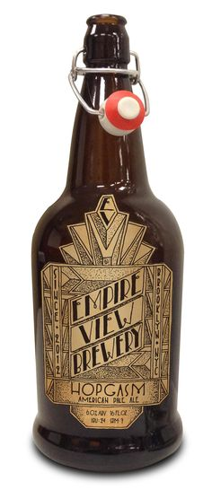 """Beer! Guaranteed to rejuvinate the senses and invigorate the spirit!"" I can literally hear that just after one look at this classic-style bottle from Empire View Brewery.  Makes me want to throw lavish parties, invite everyone, and go brood upstairs."