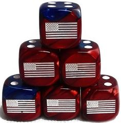 Custom & Unique {Standard Medium 16mm} 6 Ct Pack Set of 6 Sided [D6] Square Cube Shape Playing & Game Dice w/ Rounded Corner Edges w/ American Flag on Number One Design [Red, Blue & White]