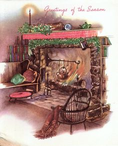 Christmas Tree by the Fire Old Time Christmas, Ghost Of Christmas Past, Old Fashioned Christmas, Cozy Christmas, Vintage Christmas Cards, Retro Christmas, Vintage Holiday, Christmas Pictures, Vintage Cards