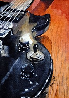 Painting of a black Epiphone electric guitar. Perfect for your man cave or musician. Original by Spencer Meagher. Prints from Fine Art America. Watercolor Illustration, Watercolor Paintings, Original Paintings, Watercolor Ideas, Still Life Drawing, Painting Still Life, Guitar Painting, Guitar Art, Art Sketches