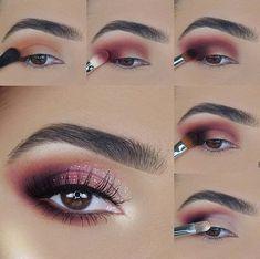 Eye Makeup Steps, Makeup Eye Looks, Sexy Makeup, Love Makeup, Simple Makeup, Makeup Tips, Beauty Makeup, Pink Eyeshadow Look, Shimmer Eyeshadow Palette