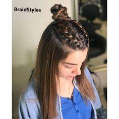 بافت-شینیون هلندی کف سری و گوجه ای مدل سامورایی Chignon Hair, Dreadlocks, Hair Styles, Beauty, Hair Plait Styles, Hair Makeup, Hairdos, Haircut Styles, Dreads