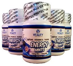 Vitality Energy Mints - Best Mint Flavored Caffeinated Tablets Containing 50 Mg Caffeine Energy Boost with 0 Calories and 0 Sugar - Contains B Vitamins and Taurine (6 Bottles/30 Mints Ea.) Vitality Health Supplements http://www.amazon.com/dp/B0189OHJJ8/ref=cm_sw_r_pi_dp_dCkDwb0WSF7X3