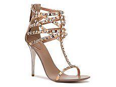 Giuseppe Zanotti Metallic Leather Crystal Sandal