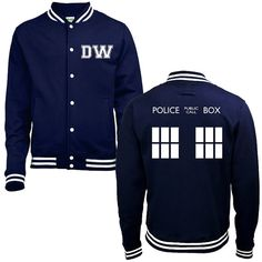 DW TARDIS Police Box College Jacket - Whovian Geek Fan Doctor Who Inspired University Varsity Letterman Baseball Jacket