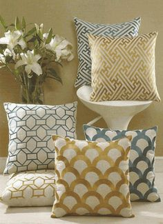 Cross Hatch & Scales Embroidered Linen Pillows