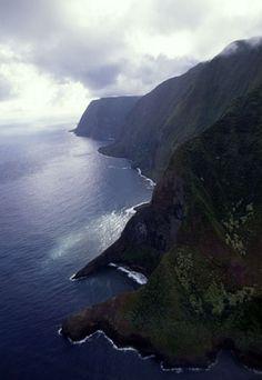 Maui coast line by air..