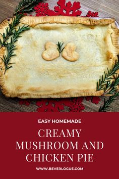 There's nothing nicer than a a delightful creamy mushroom and chicken pie to warm up your cold evenings. Comfort food at its best! #easymushroomandchickenpie #shortcrustpastry #comfortfood #beverlogue Easy Snacks, Easy Meals, Easy Recipes, Creamy Mushrooms, Stuffed Mushrooms, Peanut Sauce Chicken, Famous Recipe, Shortcrust Pastry, Yummy Food