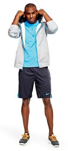 Nike shorts, fleece jacket, and running shoes