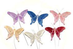 Summer Wedding Pastel Feather Butterflies 2 Inch (12 pc) $5