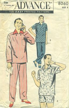 Advance 8060 ITALIAN-INSPIRED Men s 1950s PAJAMAS- Shorties or Long  Trousers.  7.99 417d35e32