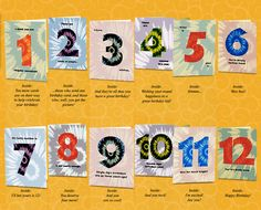 Set Of 12th Birthday Cards That Count Up To A Boy Or Girls Big Day Send One All At Once