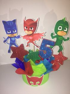 PJ Mask centerpiece birthday party decoration by happyparty777