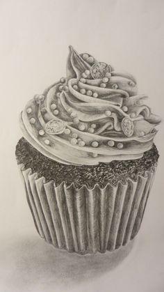 Graphite pencil tonal drawing. Iced cupcake.