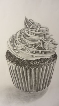 Graphite pencil tonal drawing. Iced cupcake.