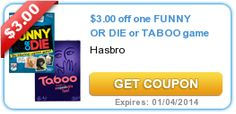 Walmart ~ Board games Funny or Die and Taboo just $8.86 after coupon!