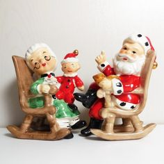 Santa and Mrs Claus - Lefton - S & P shakers