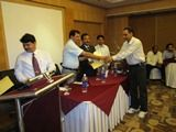 Dr. Sanjeev Kumar Sareen receiving certificate of Fellowship in minimal access Surgery at World Laparoscopy Hospital. For more detail please log on to www.laparoscopyhospital.com