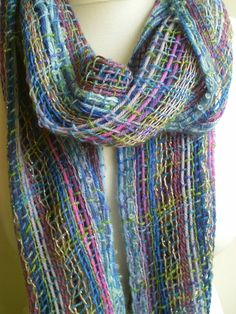 Handwoven Summer Scarf in Lilacs, Lavenders, Purples and Blues - UK Seller via Etsy