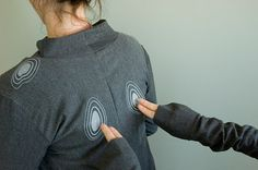 """e-Pressed. Wearable that """"senses and visualises inner states creating awareness in the wearer and in others. Awareness may be followed by interaction, which is stimulated by light visuals."""" Galvanic skin response (GSR) sensor connected to Arduino board."""