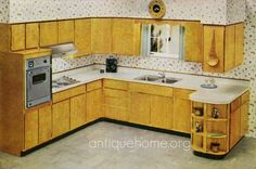 the exact set-up of my new (hopefully) kitchen - but white walls and speckled gold counters. #1960 Kitchen