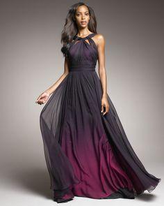 Monique Lhuillier   Purple Shirred Ombre Gown  Dark fuchsia ombre shirred chiffon.
