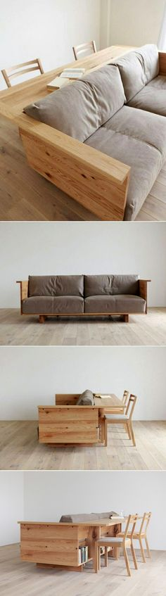Great for a small space. Built-in table on the back of the sofa. some storage, too. Also comes in a darker walnut tone and in three different sofa lengths. More pictures at the source.