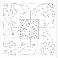 Bird Mandala Embroidery pattern (from The Floss Box). Nice design for embroidery or wool work Applique Patterns, Applique Quilts, Craft Patterns, Embroidery Applique, Cross Stitch Embroidery, Machine Embroidery, Stitch Patterns, Embroidery Designs, Box Patterns