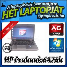 "HP Probook 6475b üzleti és gaming laptop, AMD A6-4400M, 4 GB RAM, 320 GB HDD, Windows 7 Pro, 14,1"" HD LED kijelző, webkamera Akciós ár: 65 900.- Ft"