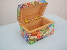 Upcycled postage stamp decorated wooden box by MooseintheMint, £14.00