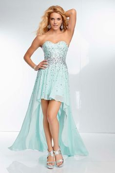 2014 Grand Sweetheart High Low Prom Dress Beaded Bodice A Line Chiffon New Arrival
