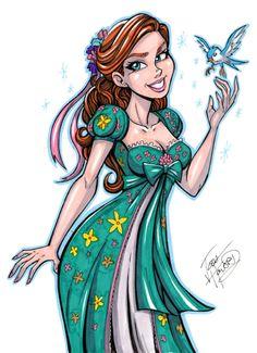 Princess Giselle as portrayed by Amy Adams in Enchanted (Disney) by Josh Howard Comic Art