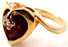 18k Gold Plated Heart Shape Bezel Set Deep Red Ruby & Diamond Accented Engagement Ring, Size 5