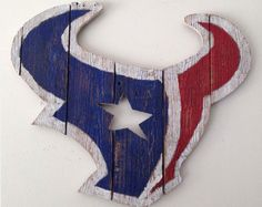 #Bonanza #Houston #Texans #NFL #Team #Logo #Handmade #Reclaimed #Wood #Decoration #Indoor #Outdoor
